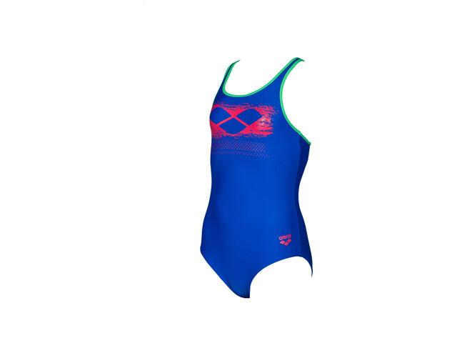 arena Scratchy One Piece Swimsuit Meisjes, neon blue/golf green